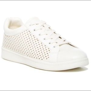Sam Edelman Perforated White Faux leather Sneakers